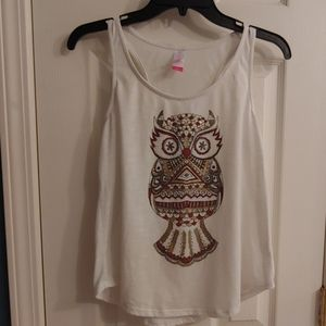 Tops - Burgundy and Gold Owl Tank